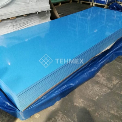 Листовой пищевой полипропилен синий с пленкой 5x1500x4000 мм